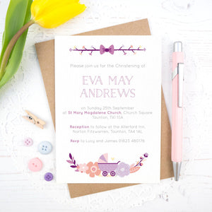 Personalised Christening invitation in purple