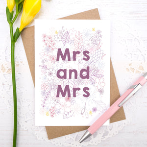 Mrs and Mrs happy couple wedding, civil partnership or engagement card