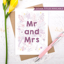 Load image into Gallery viewer, Mr and Mrs happy couple wedding, civil partnership or engagement card
