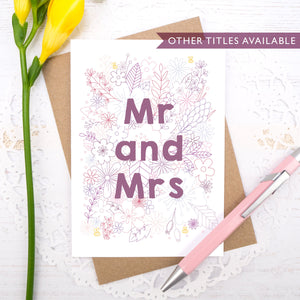 Mr and Mrs happy couple wedding, civil partnership or engagement card