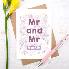 Personalised Mr and Mr happy couple card, suitable for weddings, civil partnerships or engagements