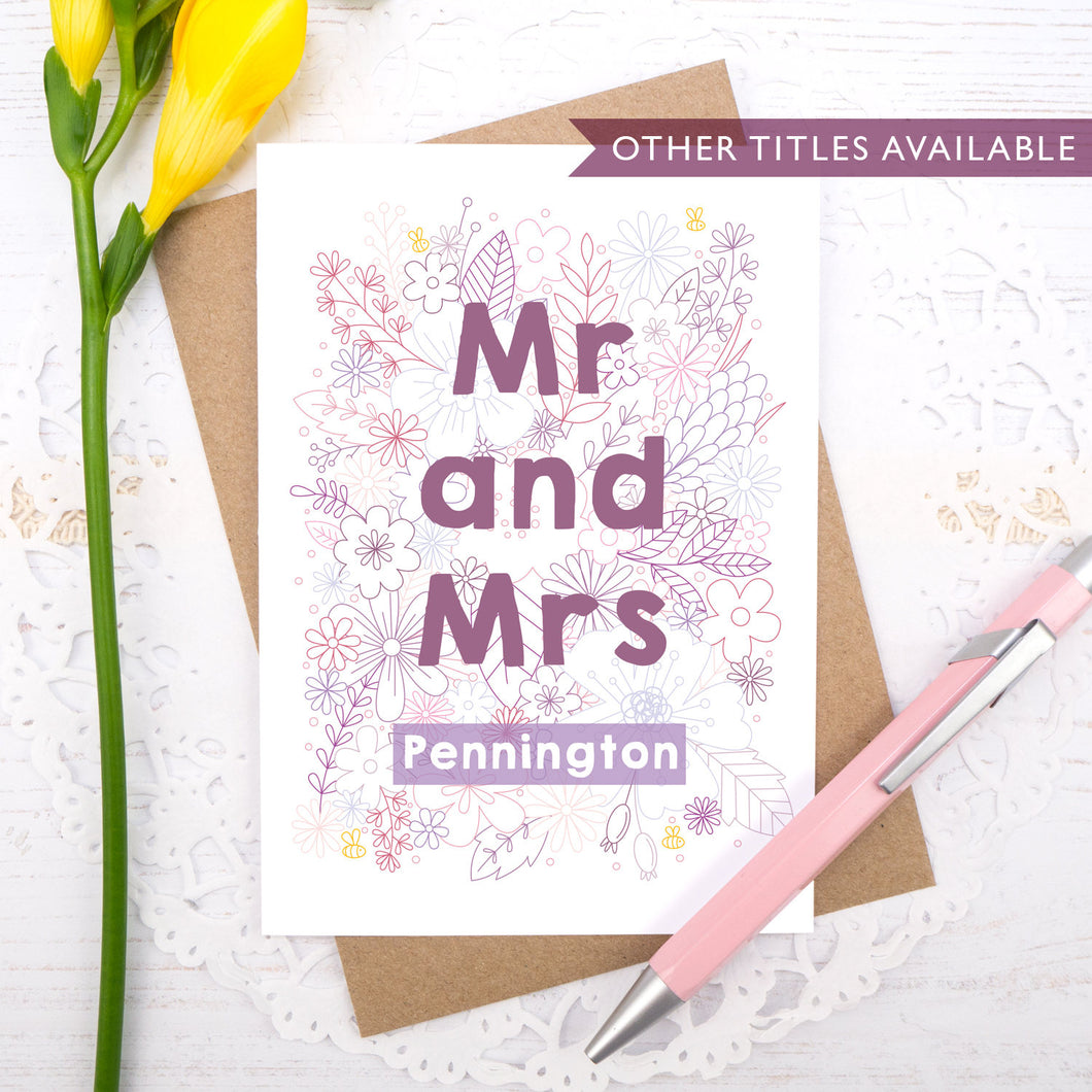 Personalised Mr and Mrs happy couple card, suitable for weddings, civil partnerships or engagements