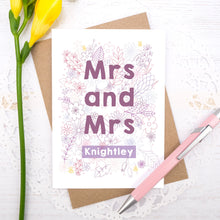 Personalised Mrs and Mrs happy couple card, suitable for weddings, civil partnerships or engagements