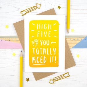 High five, you totally aced it - congratulations card for exams, driving test or new job