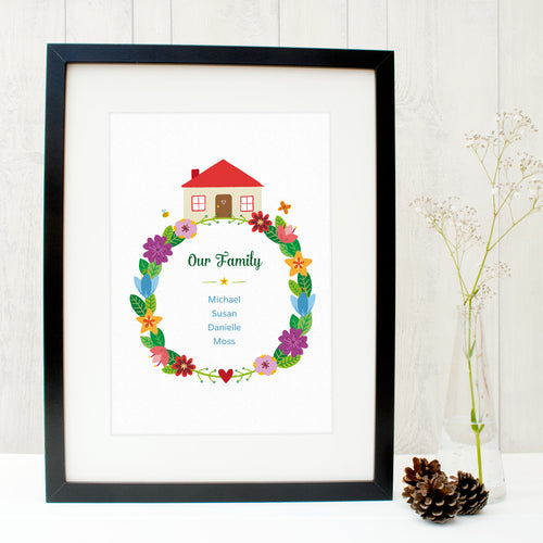 Personalised family wreath print with space for up to 6 names in rainbow colours