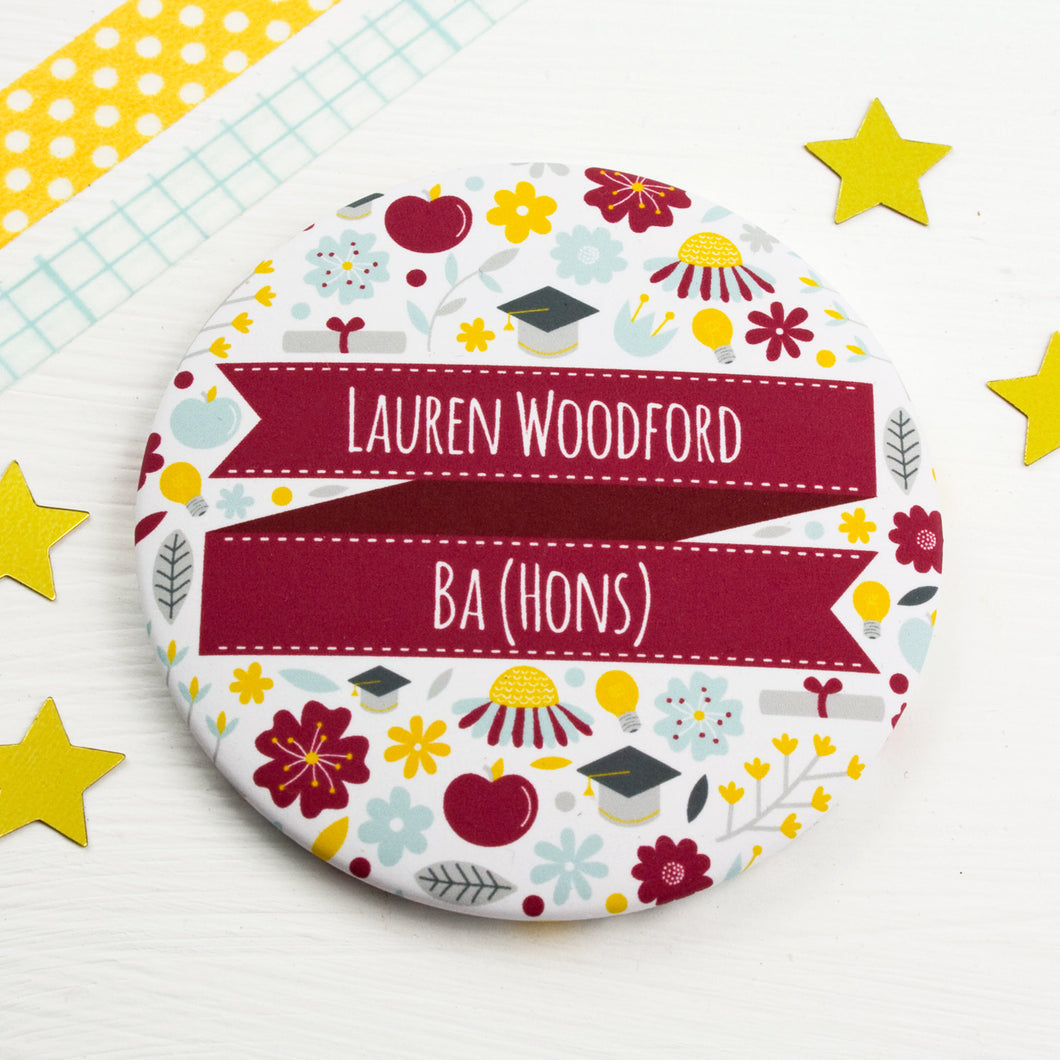 A personalised graduation pocket mirror featuring the graduates name and fancy new degree title