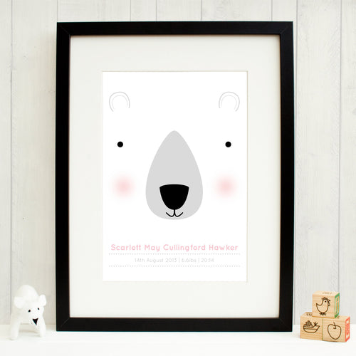 Personalised new baby print with polar bear, rosy cheeks and in the pink colour palette