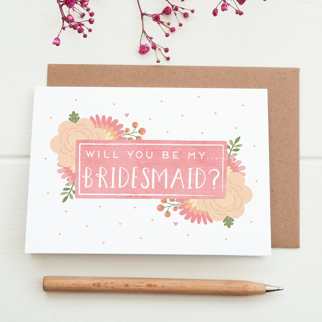 Will you be my bridesmaid card in pink