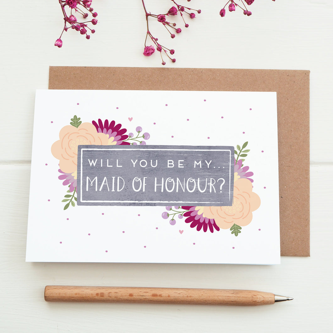 Will you be my maid of honour card in purple