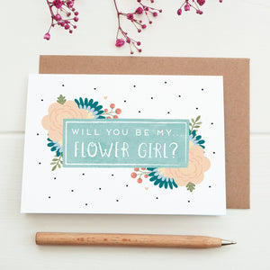 Will you be flower girl card in blue