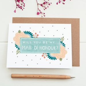 Will you be my maid of honour card in blue