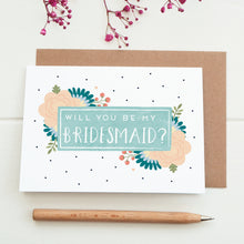 Load image into Gallery viewer, Will you be my bridesmaid card in blue