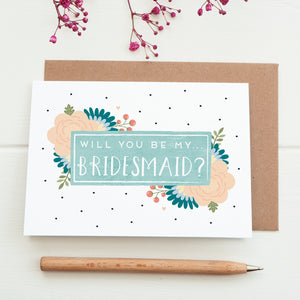 Will you be my bridesmaid card in blue