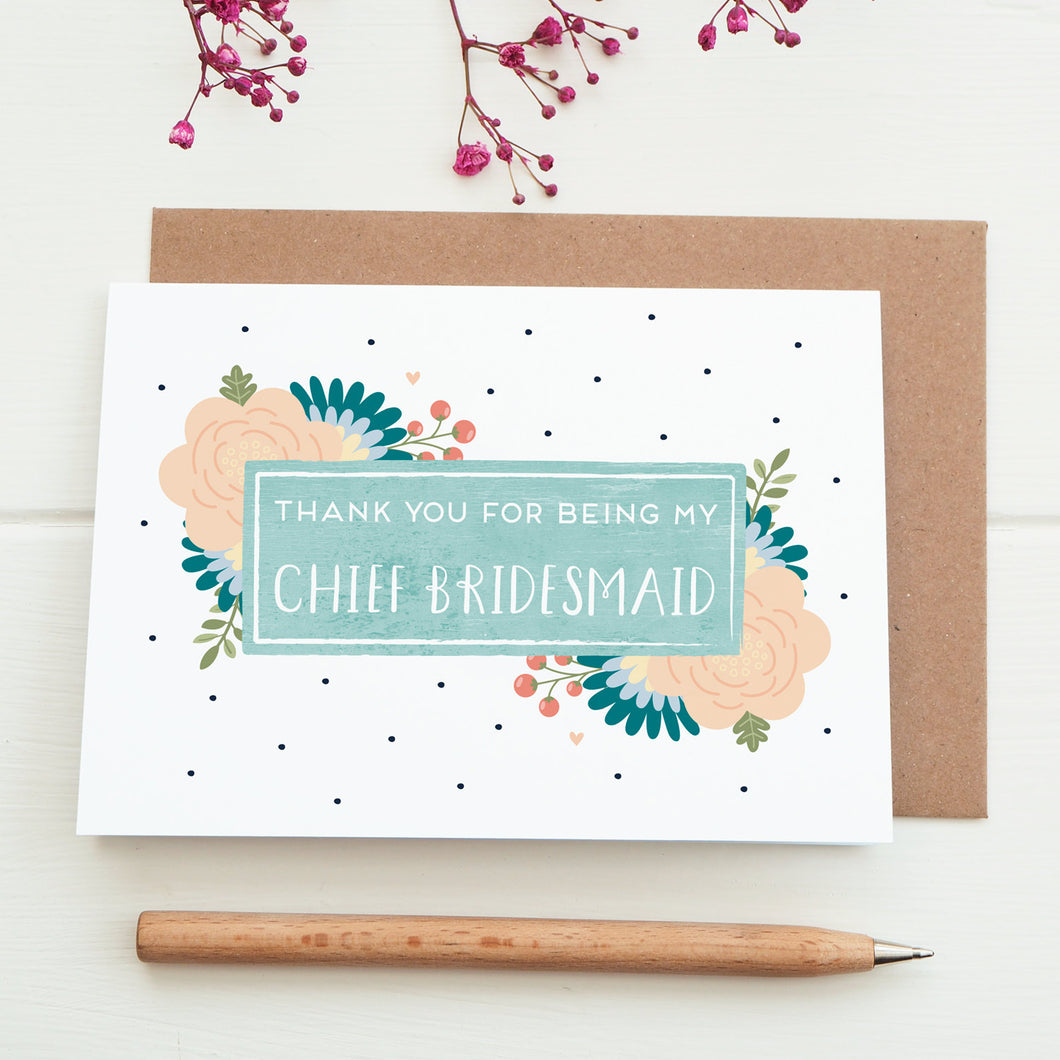 Thank you for being my chief bridesmaid card in blue
