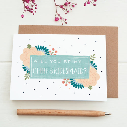 Will you be my chief bridesmaid card in blue