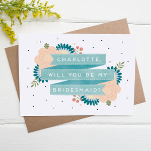 Personalised will you be my bridesmaid card in blue