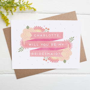 Personalised will you be my bridesmaid card in pink
