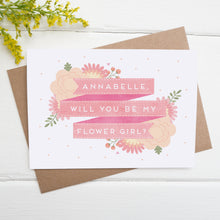 Load image into Gallery viewer, Personalised flower girl card in pink