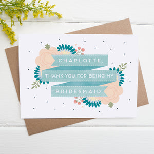 Personalised thank you for being my bridesmaid card in blue