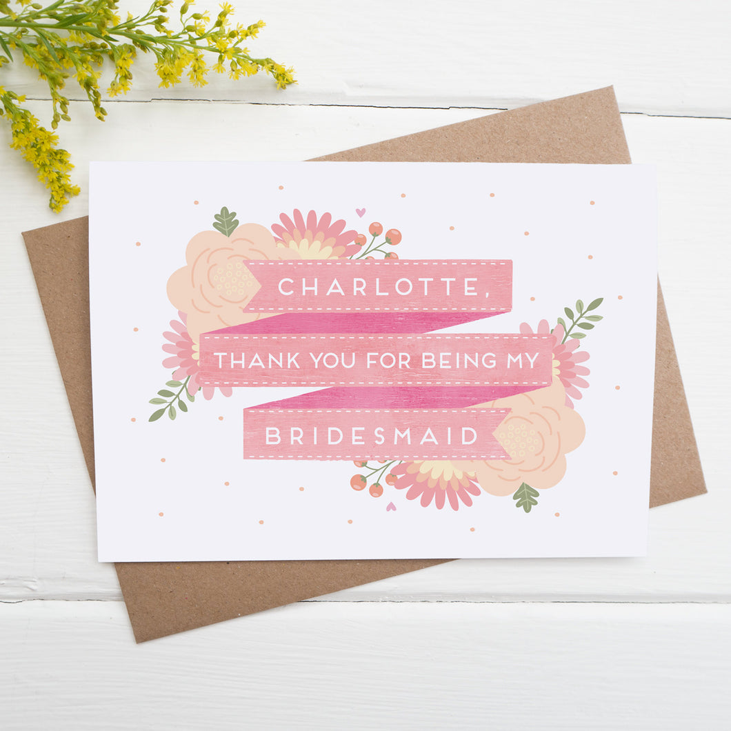 Personalised thank you for being my bridesmaid card in pink