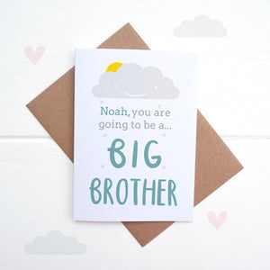 A personalised new sibling card. Big brother card.