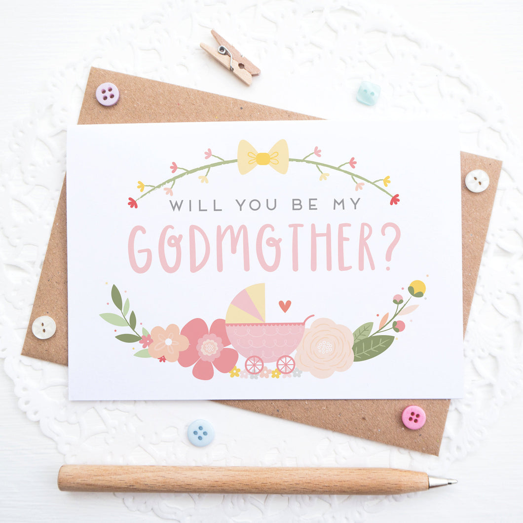 Will you be my Godmother card in pink