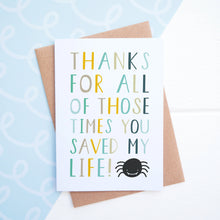 Load image into Gallery viewer, Thanks for all of those times you saved my life fathers day card in blue