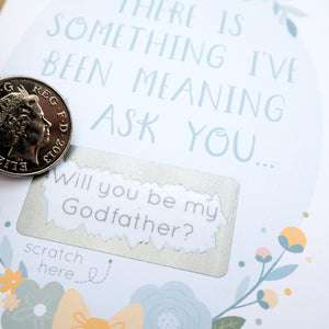 Will you be my Godfather scratchcard close up
