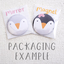 Each non personalised pocket mirror is dispatched in a cellophane sleeve with card backing.