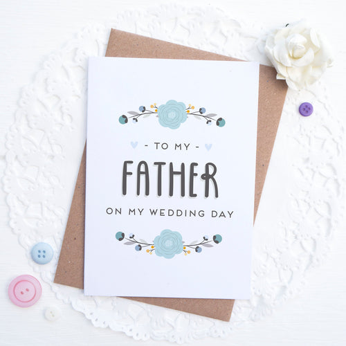 To my father on my wedding day card in blue