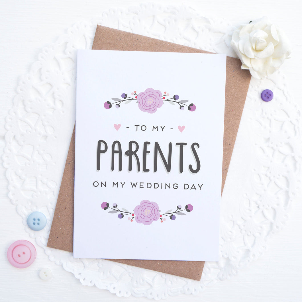 To my Parents on my wedding day card in purple