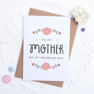 To my mother on my wedding day card in pink