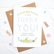 Load image into Gallery viewer, A personalised baby thank you card