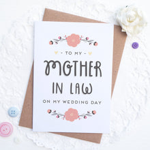 Load image into Gallery viewer, To my mother in law on my wedding day card in pink