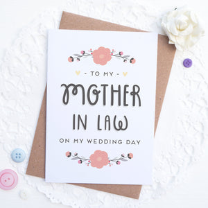 To my mother in law on my wedding day card in pink