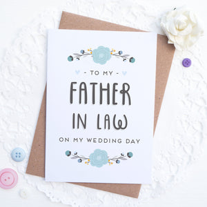 To my father in law on my wedding day card in blue