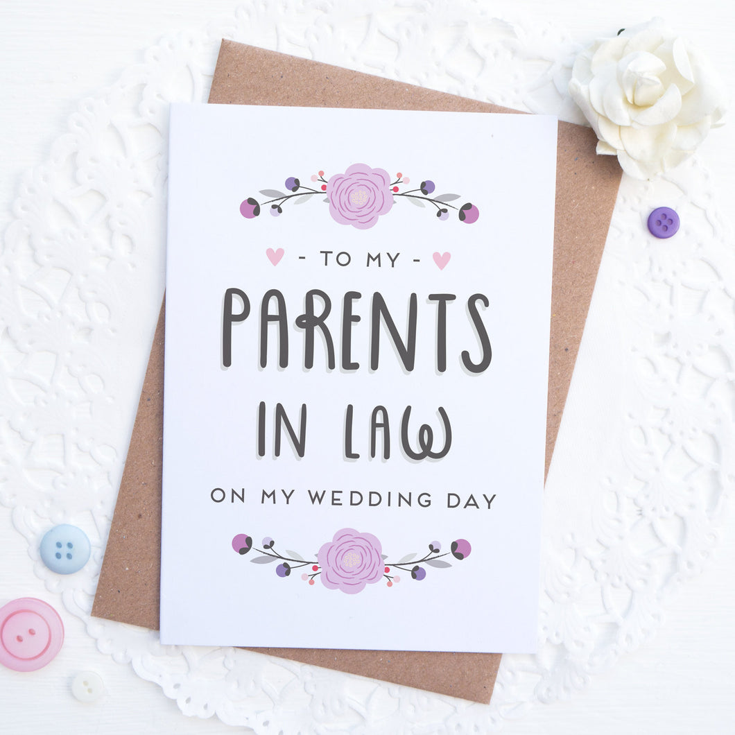 To my Parents in law on my wedding day card in purple