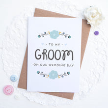 Load image into Gallery viewer, To my groom on our wedding day card in blue