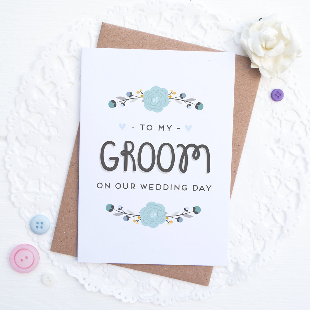 To my groom on our wedding day card in blue
