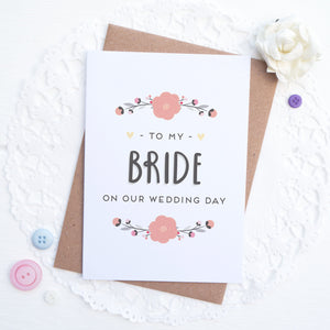 To my bride on our wedding day card in pink