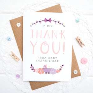 A personalised baby thank you card