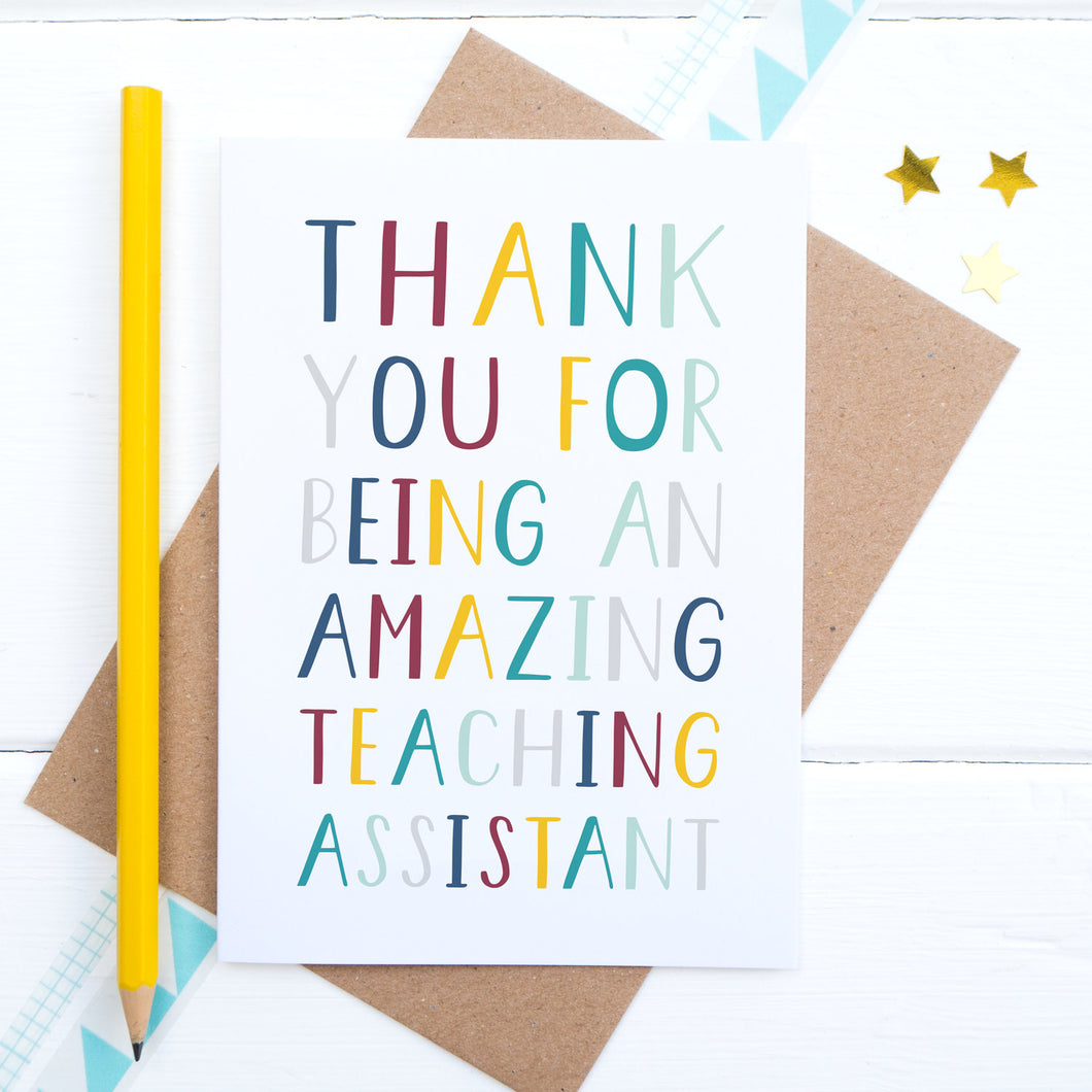 Thank you for being an amazing teaching assistant - end of term thank you card.