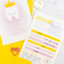 Pink front and back version of the tooth fairy receipt featuring a smiling tooth wearing a golden crown and the reverse of the receipt with a small envelope to place coins and a message from the tooth fairy