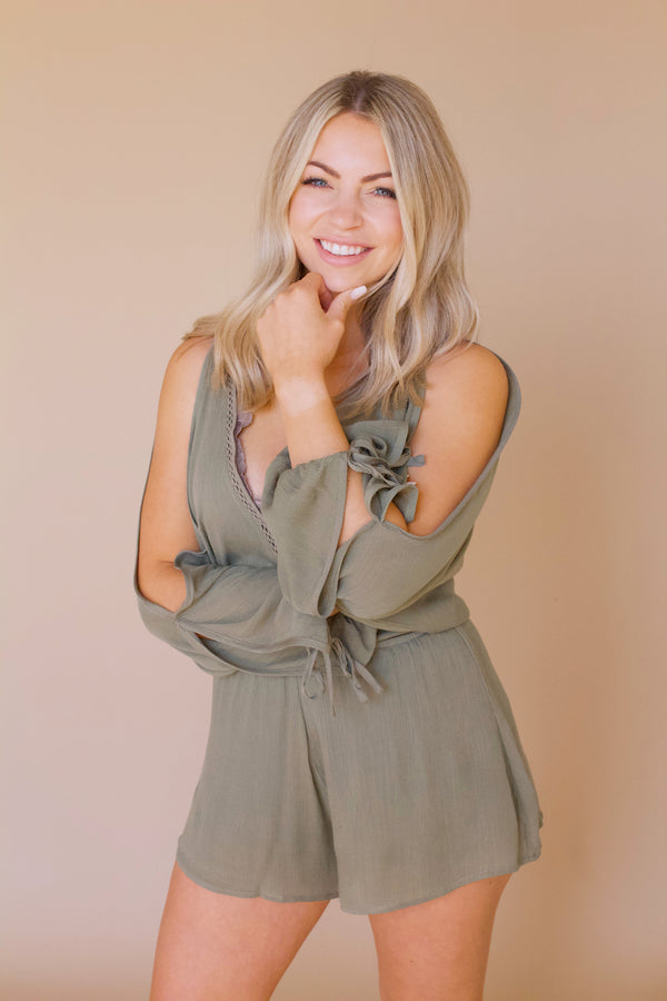 Just Your Type Romper- Olive