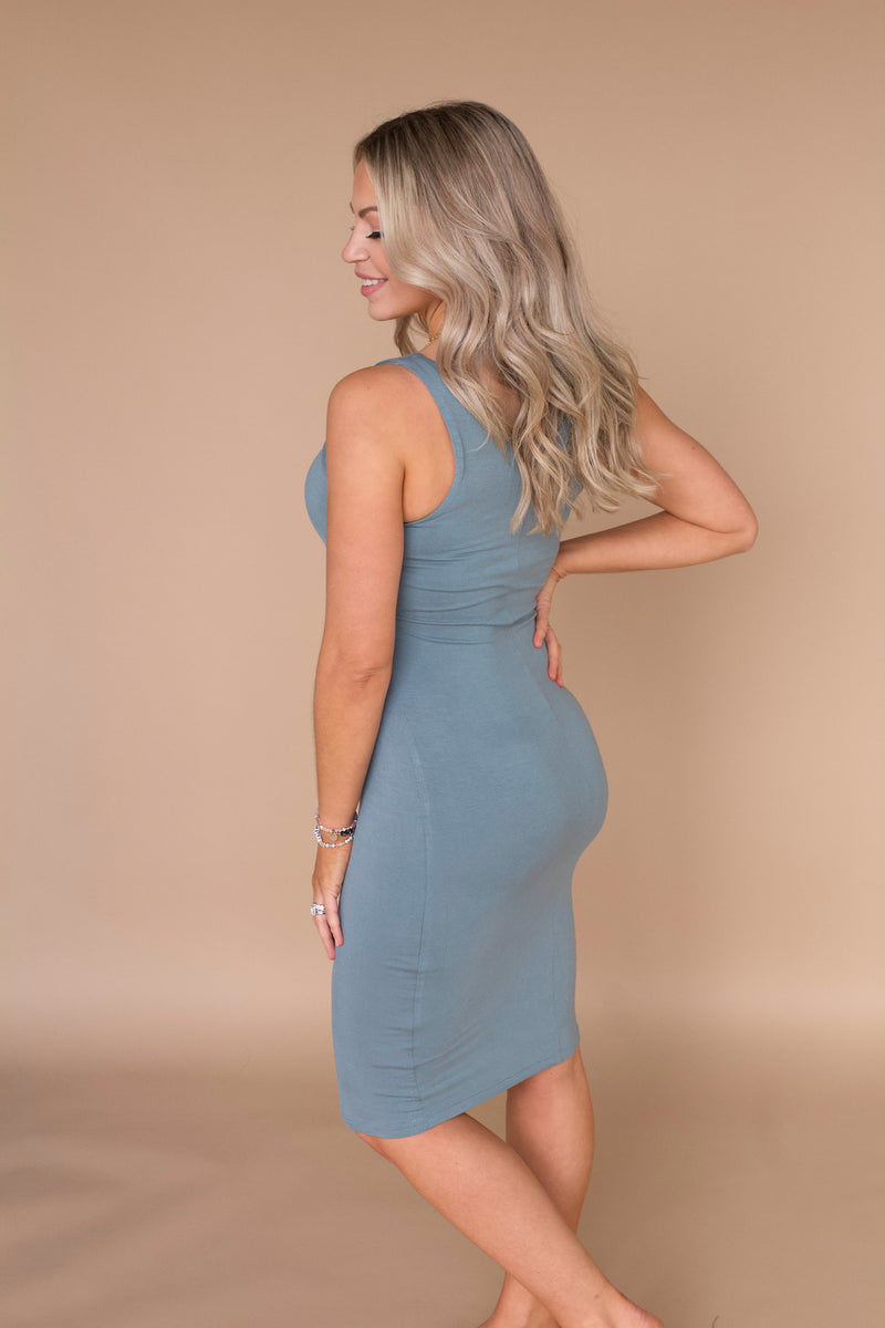 Most Wanted Bodycon Dress- Blue Grey