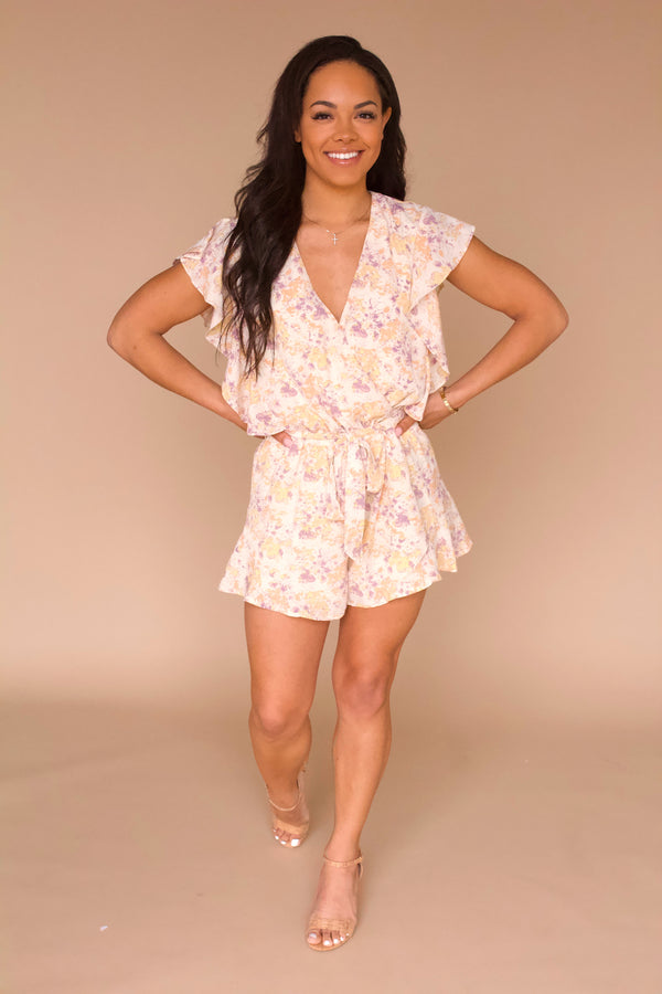 Intentions Romper- Peach Floral