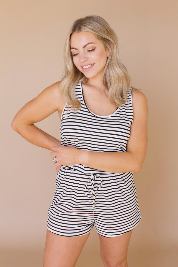 Fast Lane Romper- Black/White