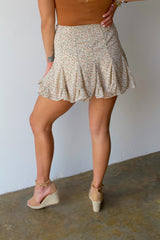 Get Flirty Flared Mini Skort- Cream/Multi