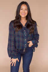 Ellis Plaid Top- Dark Green Multi