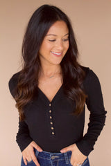 Brogan Henley Bodysuit- Black